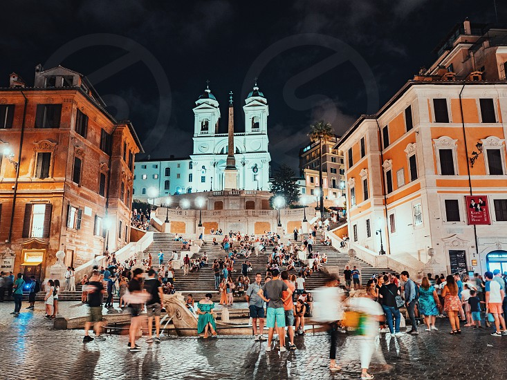 July 2018 Rome Italy. Spanish Steps at night. Lot of tourists on Piazza di Spagna. photo