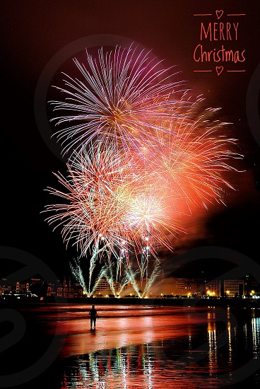 person standing near shoreline facing fireworks display photo