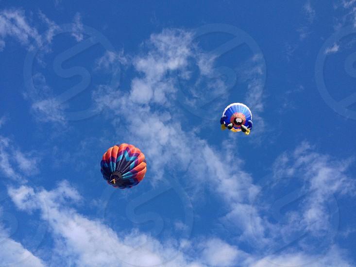 red and blue air balloon on sapce photo