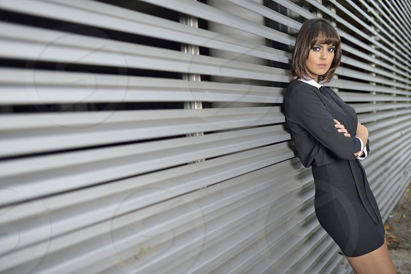 Brunette model posing outdoor photo