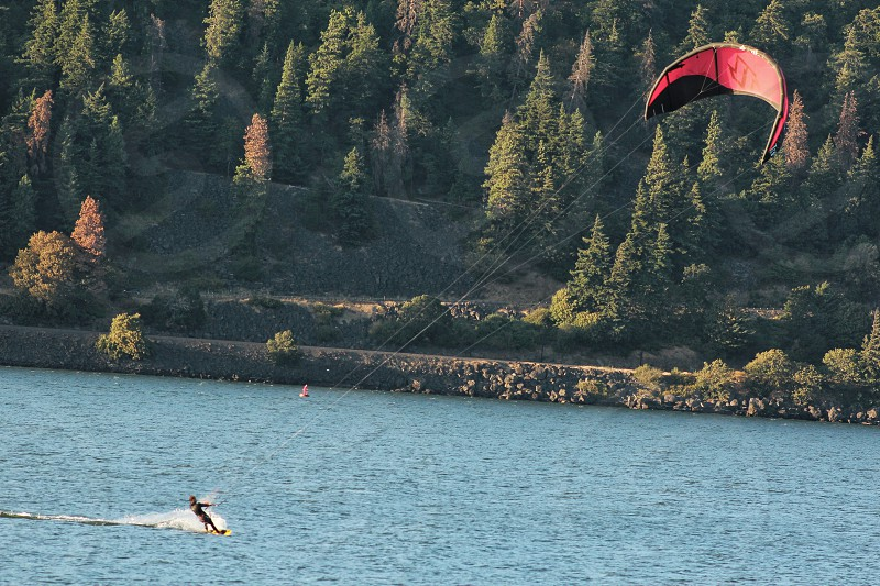 Hood River Oregon famous for wind and kite surfing. A short drive from Portland with several waterfalls and scenic stops. photo