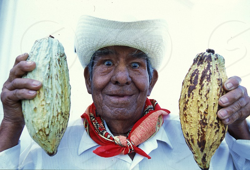 Mexican farmer with cacao beans at the church in the town of Esquipulas in Guatemala in central America.    photo
