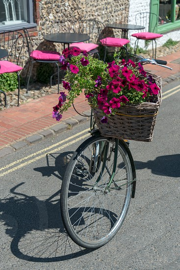 ALFRISTON SUSSEX/UK - JULY 23 : View of an old bicycle with a basket of flowers in Alfriston Sussex on July 23 2018 photo