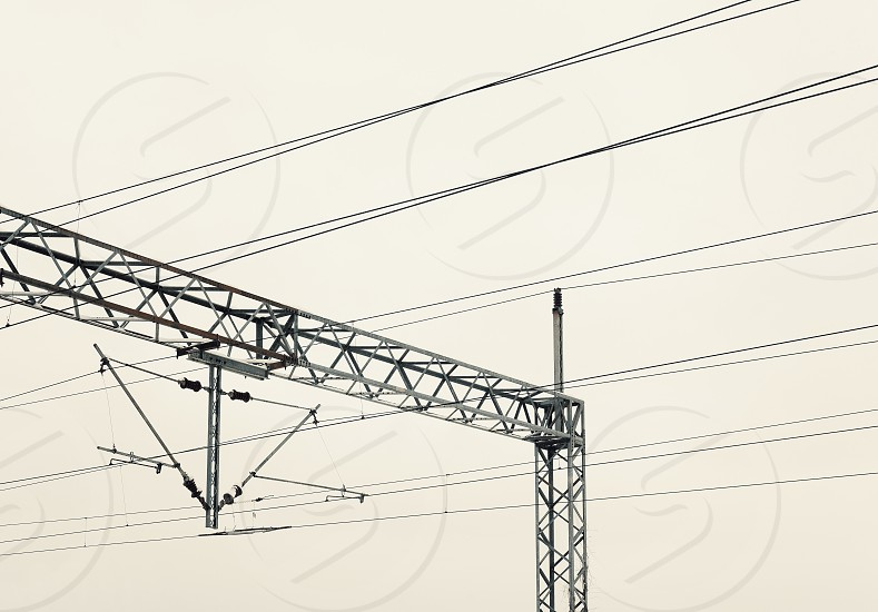 Abstract composition of railway electric wires.  photo
