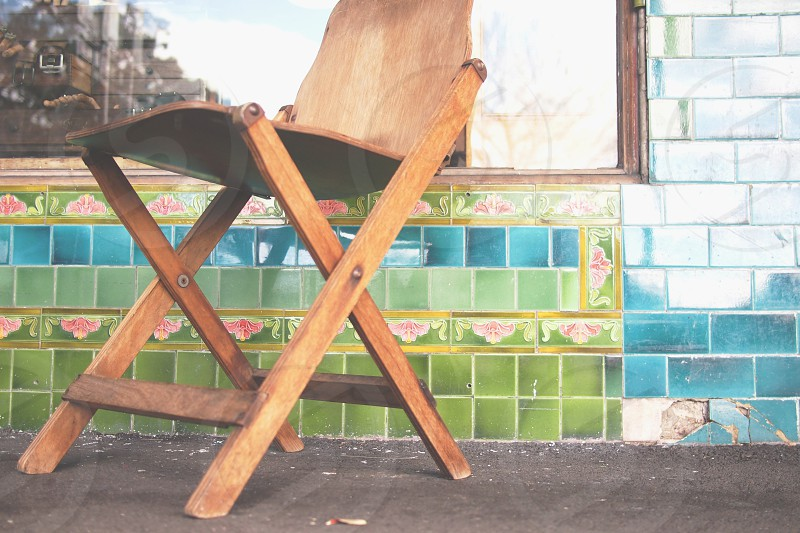 tiles pattern chair blue green wood photo