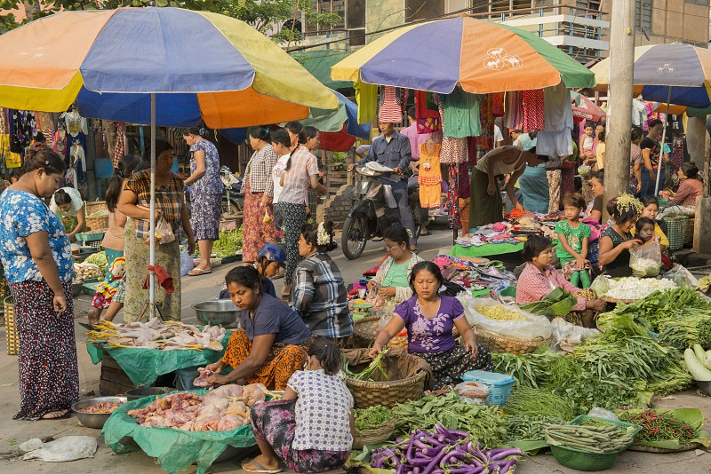 a Street Food market in the City of Mandalay in Myanmar in Southeastasia. photo