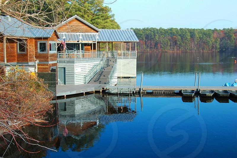 Boathouse on the lake photo