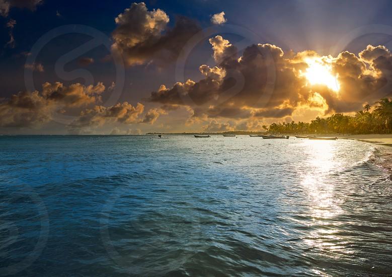 Akumal beach sunset in Riviera Maya of mayan Mexico photo
