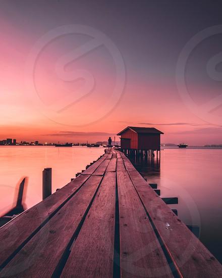 Pink sunrise in Penang Malaysia. photo
