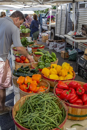 Vegetables stand at farmer's market in Lakewood Colorado photo