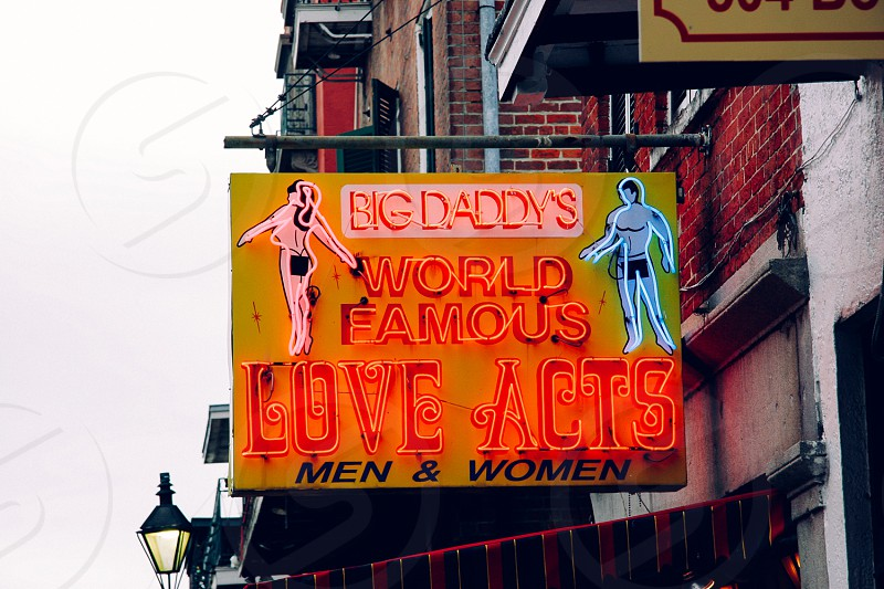 Neon sign; 'Big Daddy's World Famous Love Acts' New Orleans Louisiana  photo