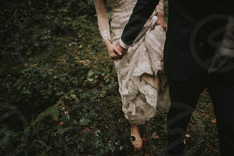 Woods wedding hands holding hands  photo