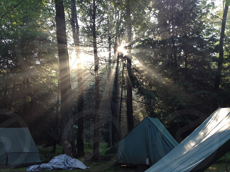 Morning sun over camp. photo