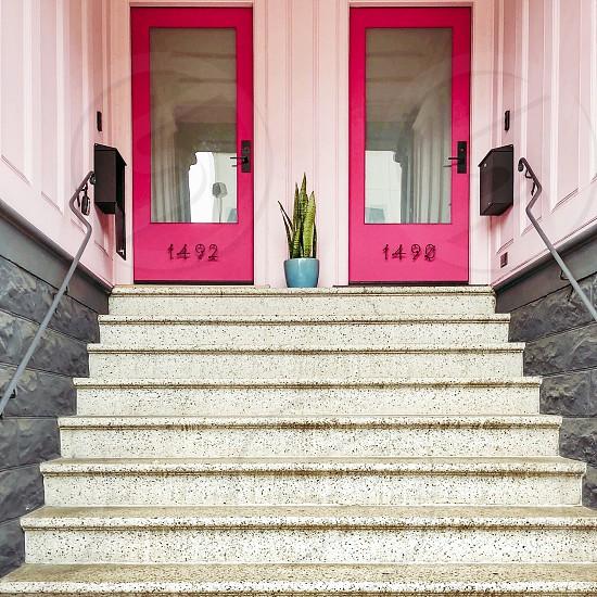 Double pink doors photo