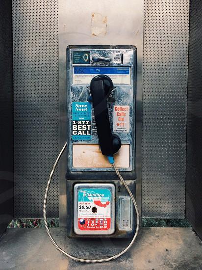 black public telephone photo