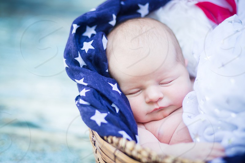 Baby newborn photography infant daughter Fourth of July patriotic scarf beautiful holiday photo