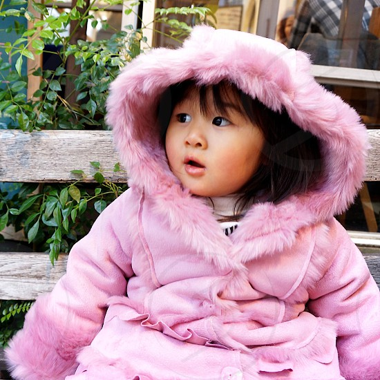 girl in pink coat with fur trim hooded on bench photo