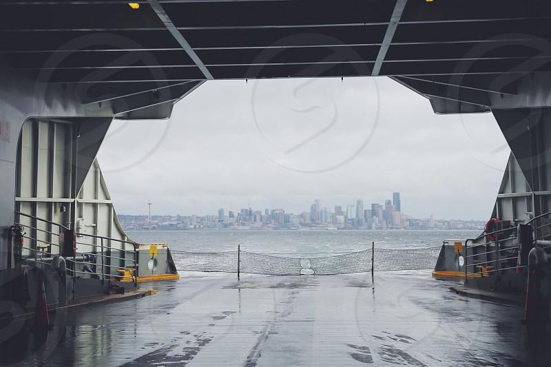 Seattle ferry boats Puget Sound fog rain PNW weather  photo