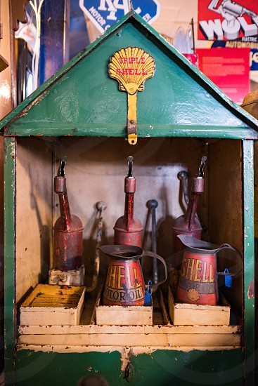 Old Shell Oil Cans in the Motor Museum at Bourton-on-the-Water photo