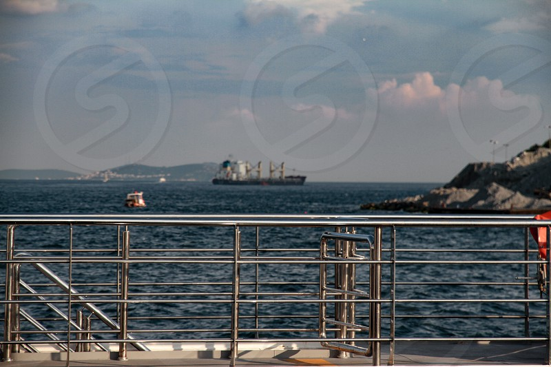 The view of Bosphorus sea captured from the ferry. photo