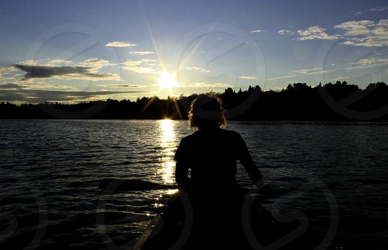 paddle light sunset lake canoe Maine photo