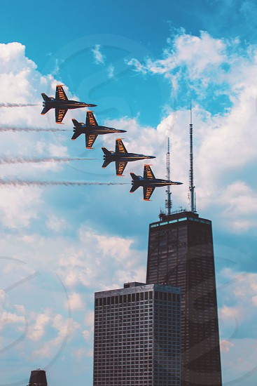 Chicago blue angles planes city fly jets Hancock  photo