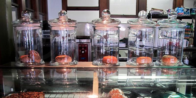 Bagels in jars at coffee shop photo