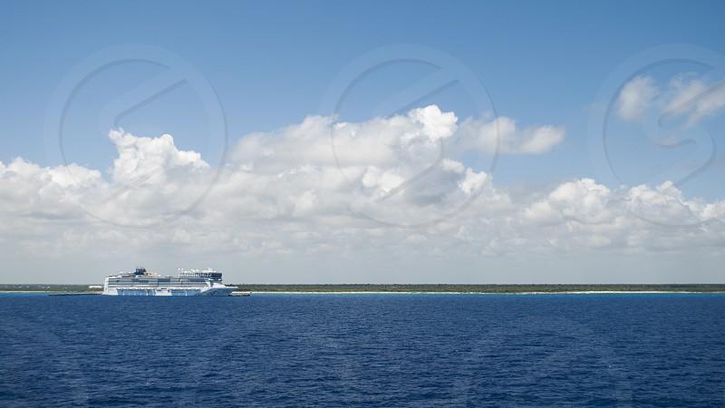 Cruise ship at port Caribbean Sea. photo