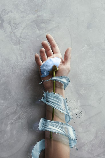 blue flower on hand with splash blue water in stone gray background. Art concept photo