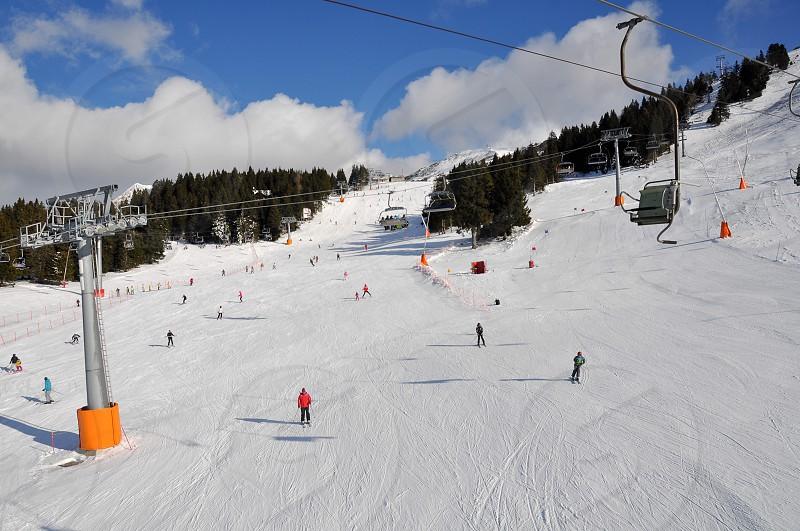 Ski slopes at Krvavec Alpine Mountain Ski Resort in Slovenia photo