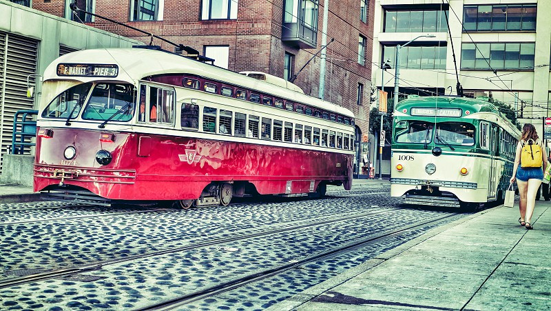 Trolley cars in San Francisco. Ca photo