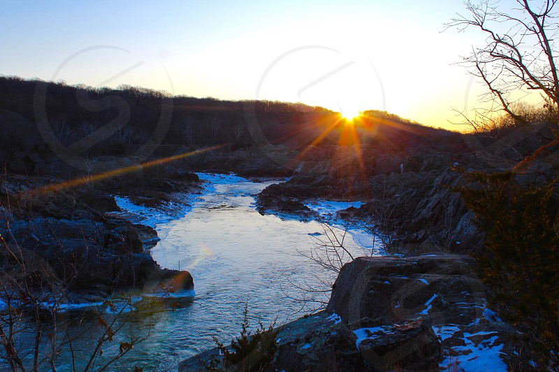 Great falls Virginia great falls park waterfall stream cascade river water sunrise sun mountains rocks daybreak sky beauty reflection shine secluded serene hike nature winter snow photo