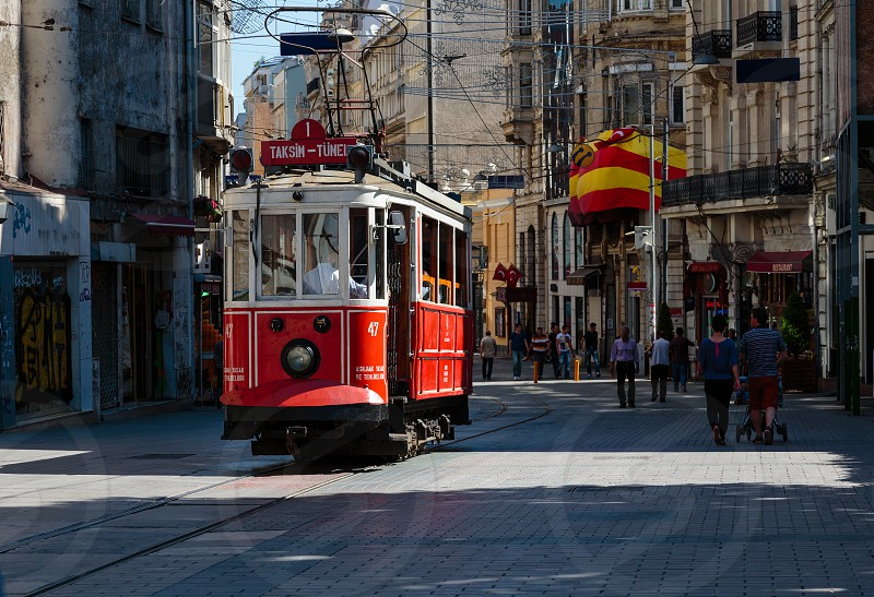 Istiklal avenue. Tram from the Taksim - Istanbul photo