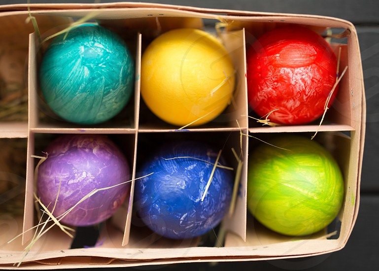 Happy Easter colorful eggs photo