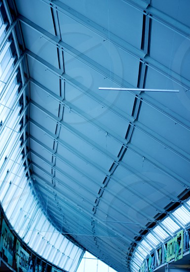 "Abstractive ceiling in the ""S"" shape in one of the shopping centers. photo"