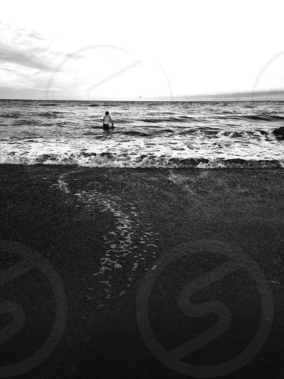 Beach shore waves black white vintage fun surf  photo