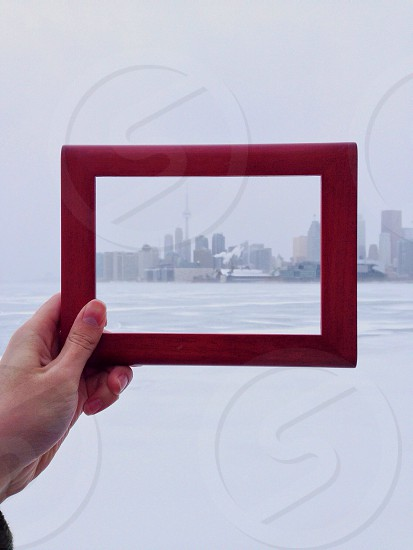 brown framed cityscape photo