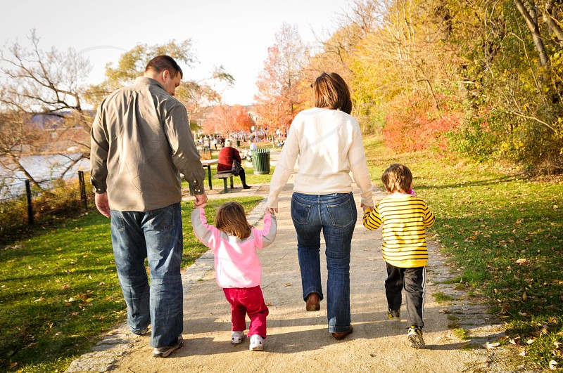 happy family at the park walking holding hands  photo
