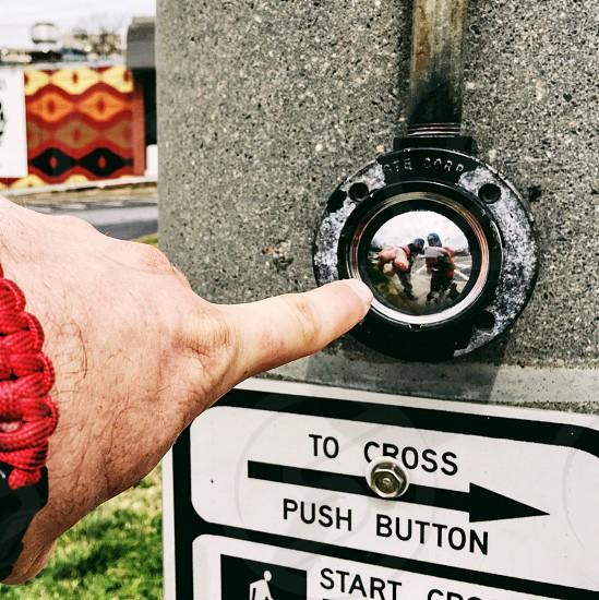 Urban street crosswalk walk don't walk button traffic light traffic light stop go pedestrian photo