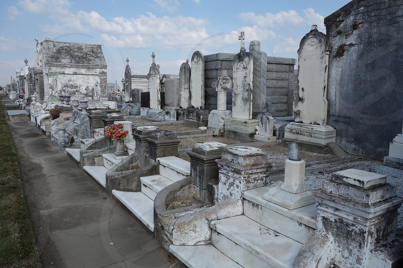 Greenwood cemetery next to the Longue Vue Gardens in New Orleans Louisiana.                        photo