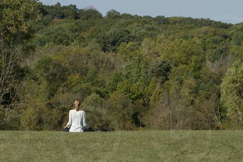 yoga meditation park peaceful photo