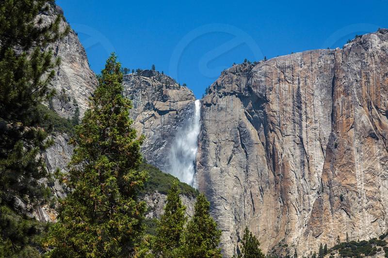 Upper Yosemite Falls under a Clear Blue Sky photo