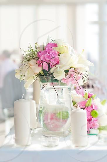 flowers roses white candle wedding photo