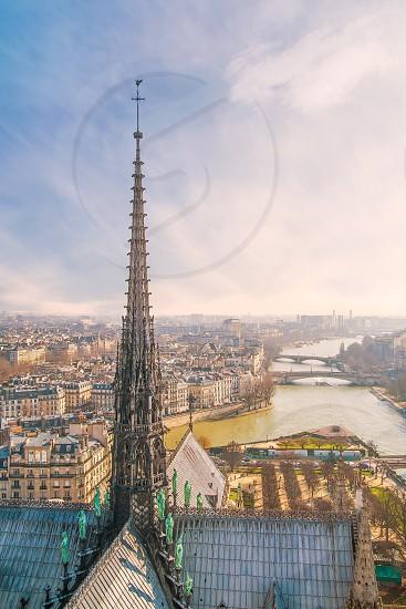 The spire of Notre Dam de Paris completely destroyed by the fire of April 15 2019. Paris. France photo
