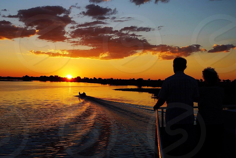 Brilliant sunset over the Okavango Delta in Botswana Africa photo