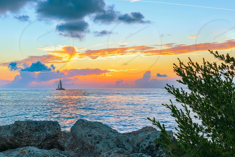 Sunset in the Fort Zachary Taylor Historic State Park. Key West. Florida. USA photo