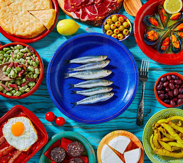 Tapas from spain mix of most popular recipes of Mediterranean cuisine photo