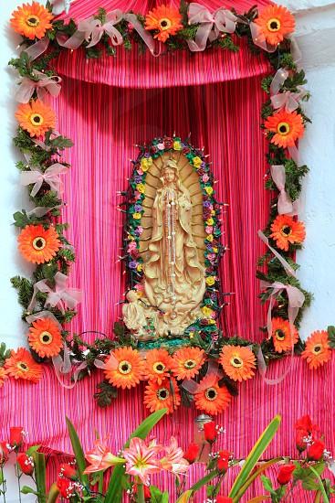 Mexican virgin madonna figure house facade tropical Caribbean Guadalupe photo