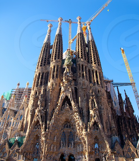 Barcelona Sagrada Familia cathedral by Gaudi architect still unfinished photo