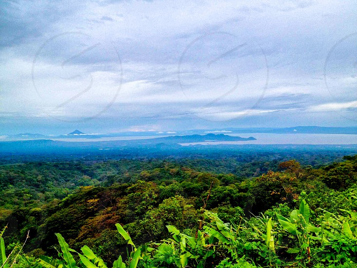 Landscape Nicaragua volcano nature lake valley mountains environment panoramic view photo